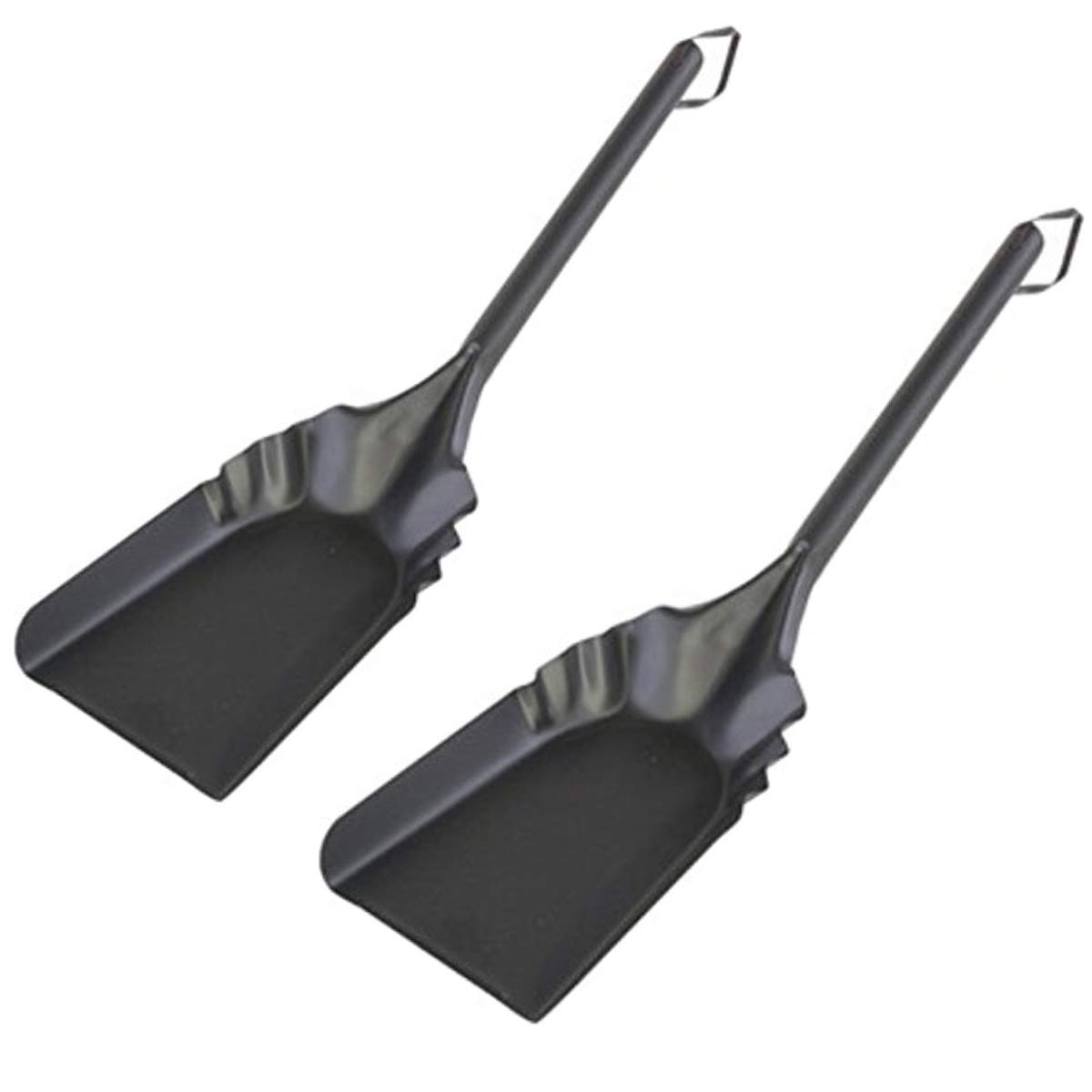 Rocky Mountain Goods Fireplace Ash Shovel Long - 20'' - Heavy Gauge Steel - Heat Resistant Paint/Finish - Leather Hang Strap - Coal Shovel for Wood Stove (2) by Rocky Mountain Radar