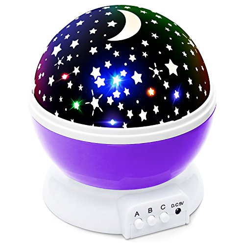 Lizber Baby Night Lighting Lamp Moon Star Projector 360 Degree Rotation - 4 LED Bulbs 9 Light Color Changing With USB Cable (Purple), Unique Gifts for Men Women Kids Best Baby Gift, Christmas Gift ()