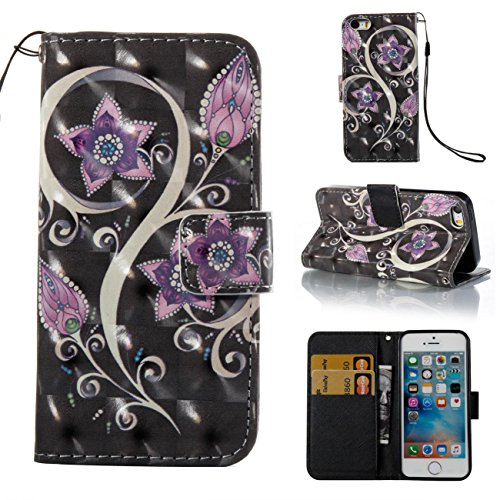 iPhone SE/5S Case,Magnetic PU Wallet Cover Durable Stand Cover Credit Card Holder Flip Folio Shell Cover with Strap Birthday Gift Christmas Halloween Gift for Apple iPhone SE/5S-Purple
