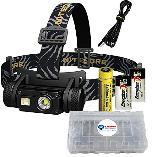 Nitecore HC65 1000 Lumen White/Red/High CRI Output LED Rechargeable Headlamp PLUS 2 extra Energizer CR123 batteries and 1 Lightjunction battery box
