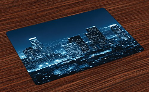Lunarable USA Place Mats Set of 4, Los Angeles City Buildings at Night Monochromic Photo Scenery Town Dusk Scenic View, Washable Fabric Placemats for Dining Table, Standard Size, Night Blue
