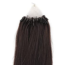 Beauty7 18″ 20″ 22″ 24″ Loop Micro Ring Beads Tipped Remy Human Hair Extensions 25g 50s 0.5g/s #1b Off Black (24″)