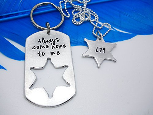 always-come-home-to-me-sheriff-or-corrections-officer-badge-cutout-keychain-set-personalized-hand-st