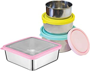 MIRA Food Container Bundle with a Set of 3 Nesting Stainless Steel Food Containers (Aqua/Sun/Blush) and Stainless Steel Sandwich Container (Pink)