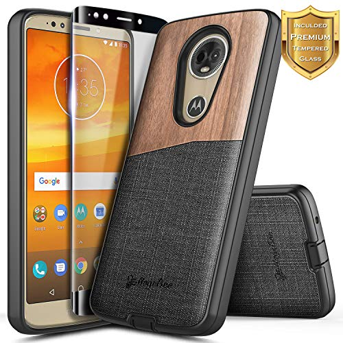 (Moto E5 Plus Case, Moto E5 Supra Case w/[Full Cover Tempered Glass Screen Protector], NageBee Premium Natural Wood Canvas Fabrics Shockproof Hybrid Rugged Case for Motorola Moto E Plus 5th Gen -Wood)