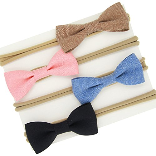 Pull Some Bow (Baby Girl Bow Headband Elastic Soft Nylon Hair Bands Accessories Headdress …)