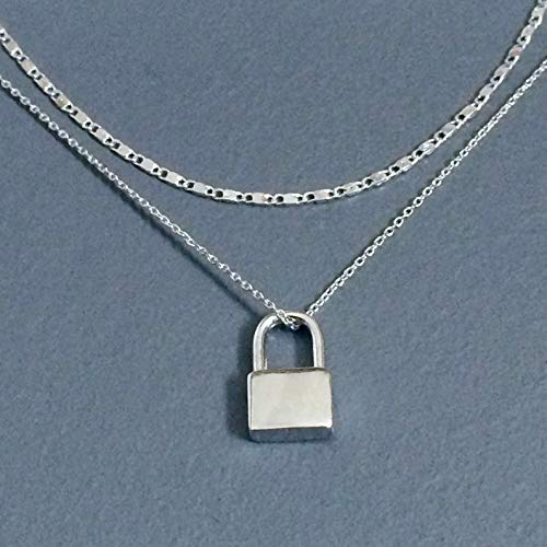 WAS $34.00 - layered, padlock pendant, silver plated necklace ()