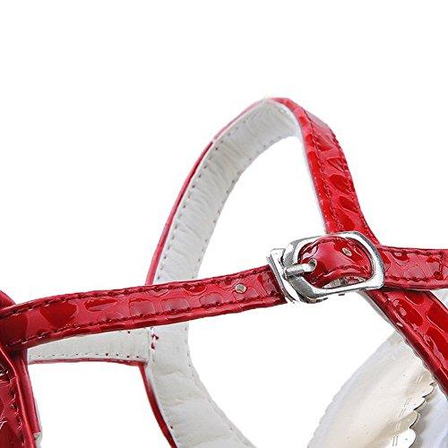 AllhqFashion Mujeres Hebilla Cuero Peep Tacón ancho Sólido Sandalia Rojo