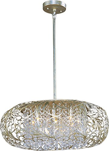 Maxim 24155BCGS Arabesque 9-Light Pendant, Golden Silver Finish, Beveled Crystal Glass, G9 Clear Xenon Xenon Bulb , 13W Max., Wet Safety Rating, 2700K Color Temp, Glass Shade Material, 900 Rated Lumens Maxim Lighting Silver Chandelier