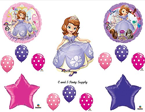 SOFIA THE FIRST Happy Birthday PARTY Balloons Decorations Supplies Disney POLKA DOTS]()