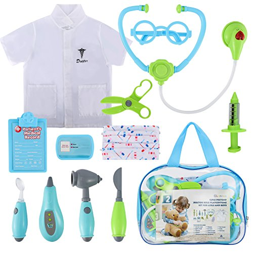 Glonova Doctor Kit for Kids, 12 Pcs Pretend Dotor Play Kit with Roleplay Doctor Costume, Dress up Doctor Accessories, and Carry Bag -