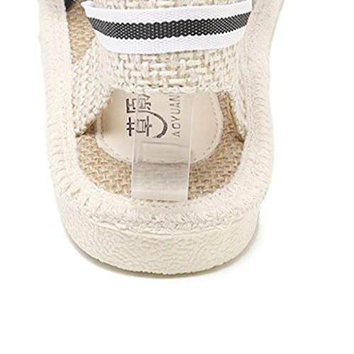 Casual Flat Lace Strap Espadrilles Roman Ankle Women Lady HLHN Beige Heel up Shoes Sandals Stripe Vintage Straw x8XwO7