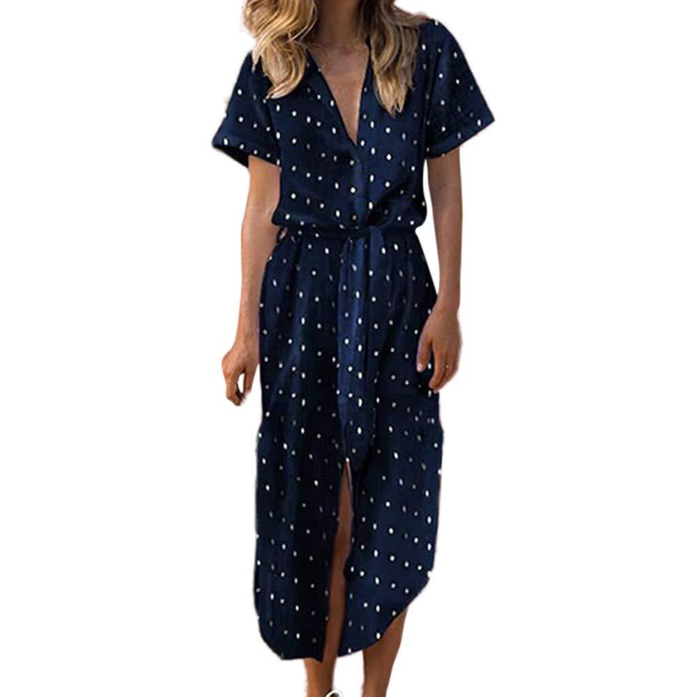 LIM&Shop Women Summer Dress Short Sleeves T-Shirt Midi Dress Polka Dots V-Neck Casual Shirt Side Split Skirt Long Dress Navy by LIM&SHOP-Women Dresses