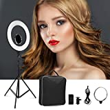 CRAPHY 18' Dimmable SMD LED Ringlight 48W, 3200-5500K Bi-Color Photography Studio Ring Light Kit with Light Stand, Hot Shoe, Cosmetic Mirror, Phone Holder for YouTube, Video Shooting, Portrait, Vlog