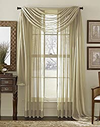"""LuxuryDiscounts Beautiful Elegant Solid Taupe Sheer Scarf Valance Topper 37"""" X 216"""" Long Window Treatment Scarves"""