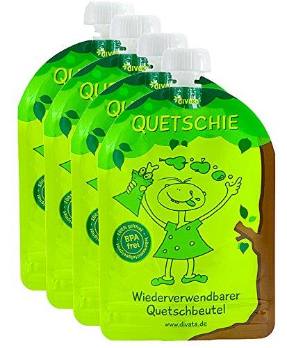 divata Quetschies 4er Pack - wiederverwendbare Quetschbeutel zum selbst befüllen mit u.a. Yoghurt, Smoothies, Babybrei. BPA und PVC frei