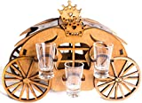 Wooden Shot Glass Bottle Holder Mini Bar For Home - Stand With Set of 6 Clear Shots Glasses Great Gift (Carriage set)