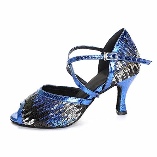 Bcln Donna Open Toe Sandali Tacchi Latino Salsa Tango Pratica Scarpe Da Ballo Con 2.75 Tacco Blu