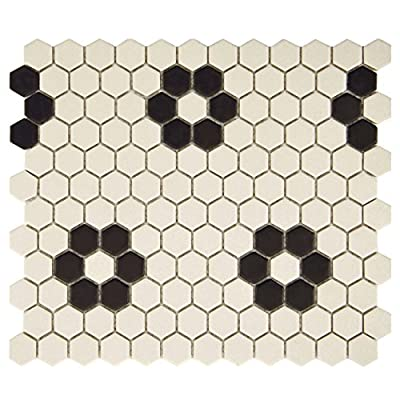 "SomerTile FXLGHHF Hex with Heavy Flower Porcelain Floor and Wall Tile, 10.25"" x 12"", Antique White/Black"