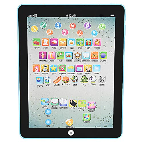 (Fewear Learning Tablet, Little Scholar Kids Girls Boys Baby Learning Tablet, English Language Educational Tablets Study Learning Machine, Learn Smart Stages Tablet, Little Apps IPAD Tablet (Blue))