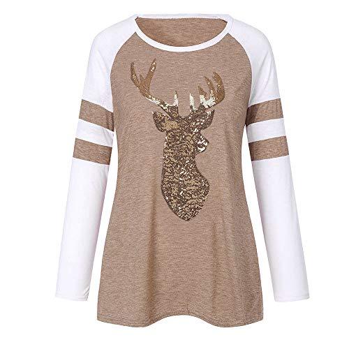 de kingwo imprim Top Rennes Femme l T Applique Paillettes Shirt Rond Kaki col No de 1YRF1w