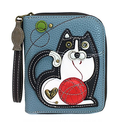 (CHALA Zip Around Wallet, Wristlet, 8 Credit Card Slots, Sturdy Pu Leather - Fat Cat - BlueGray)