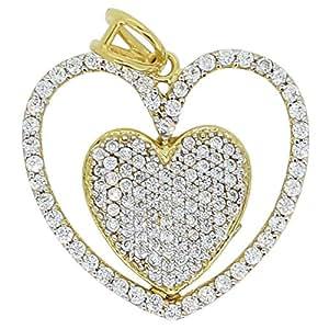 SMS Jewelry Women 18K Gold Cubic Zirconia Heart Love Pendant