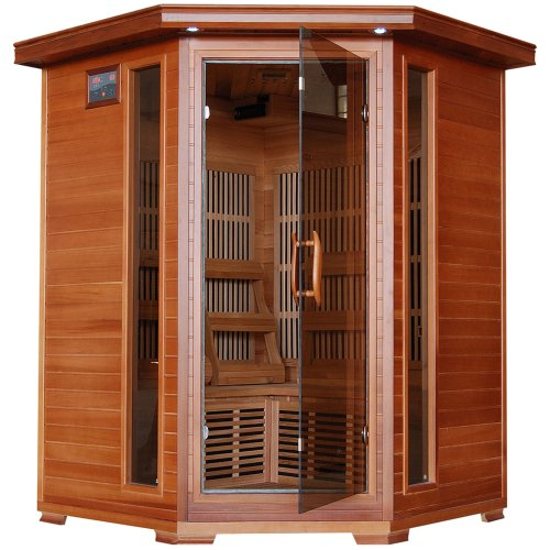 3-Person Cedar Corner Infrared Sauna w/ 7 Carbon Heaters (Sauna Cedar)