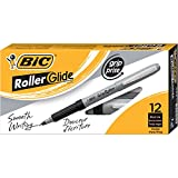 BIC Roller Glide Grip Pen, Fine Point (0.7mm), Black, 12-Count