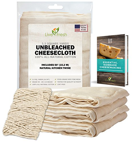 LiveFresh Unbleached Cheesecloth with 50' All-Natural Unbleached Cooking