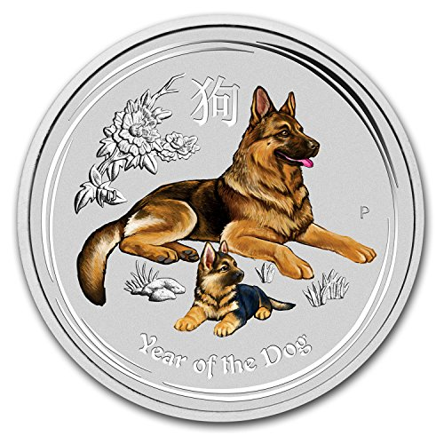 2018 AU Australia 2 oz Silver Lunar Dog BU (Colorized) Silver Brilliant Uncirculated