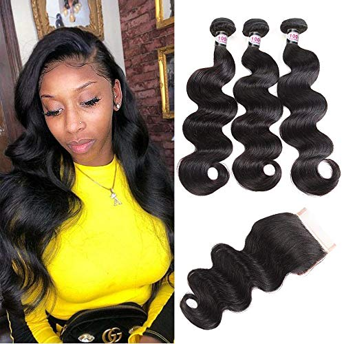 YePei Brazilian Virgin Body Wave 3 bundles With Free Part Closure Natural Color 100% Unprocessed Human Hair Weave Weft with Lace Closure(10 12 14 with 10 Free ) (Brazilian Body Wave Sew In With Closure)