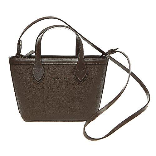 Trussardi Mujer Peque?o bolso de compras con correa de hombro, cuero genuino de ternera 24x16x8 Cm Mod. 76B112M Marron oscuro