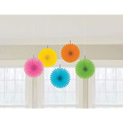 amscan Multicolor Mini Hanging Fans, 5 Ct. | Party Decoration: Toys & Games