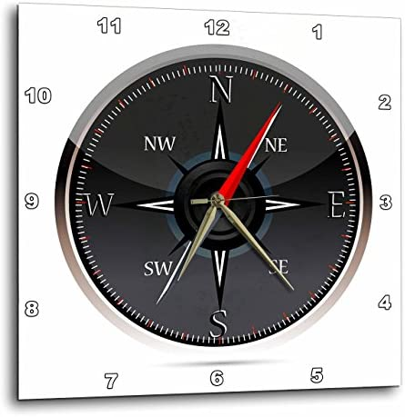 3dRose Black and Gray Compass – Wall Clock, 13 by 13-Inch DPP_111554_2