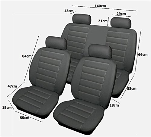 Grey Full Set Car Leather Feel Covers To Protect Original Fabric Leather Seats: