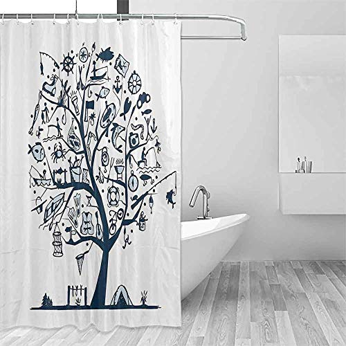 Polyester Fabric Shower Curtain Fishing Decor Cute Tree of Life with Marine Objects Anchor Wind Rose Compass Reel Nature Enjoy The Fresh Environment W40 xL72 Light Blue