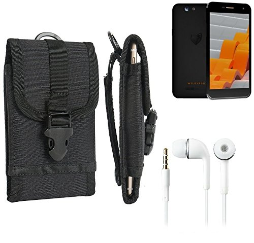 bolsa del cinturón / funda para Wileyfox Spark, negro + Auriculares   caja del teléfono cubierta protectora bolso - K-S-Trade (TM)