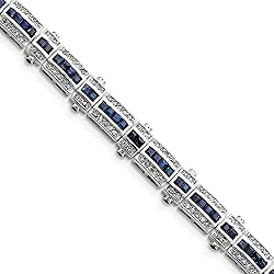 "925 Sterling Silver Sapphire and Cubic Zirconia Bracelet -7"" (7in x 10mm)"