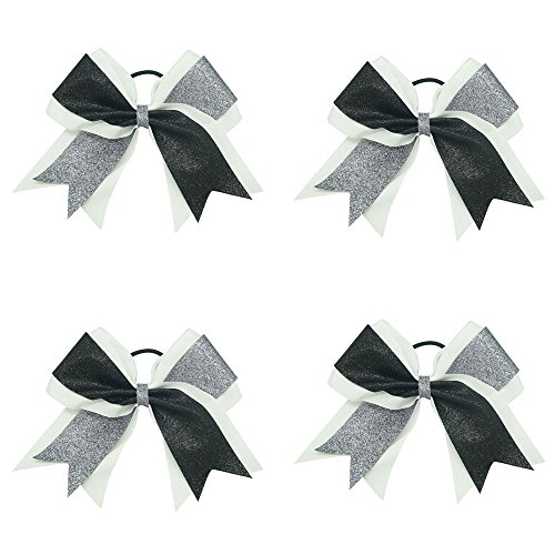 [CN 7 Inch Big Shimmer Ribbon Glitter Cheer Bows Sparkly Hair Bows with Ponytail Holder For Cheerleading] (Cheerleader Outfit For Girls)