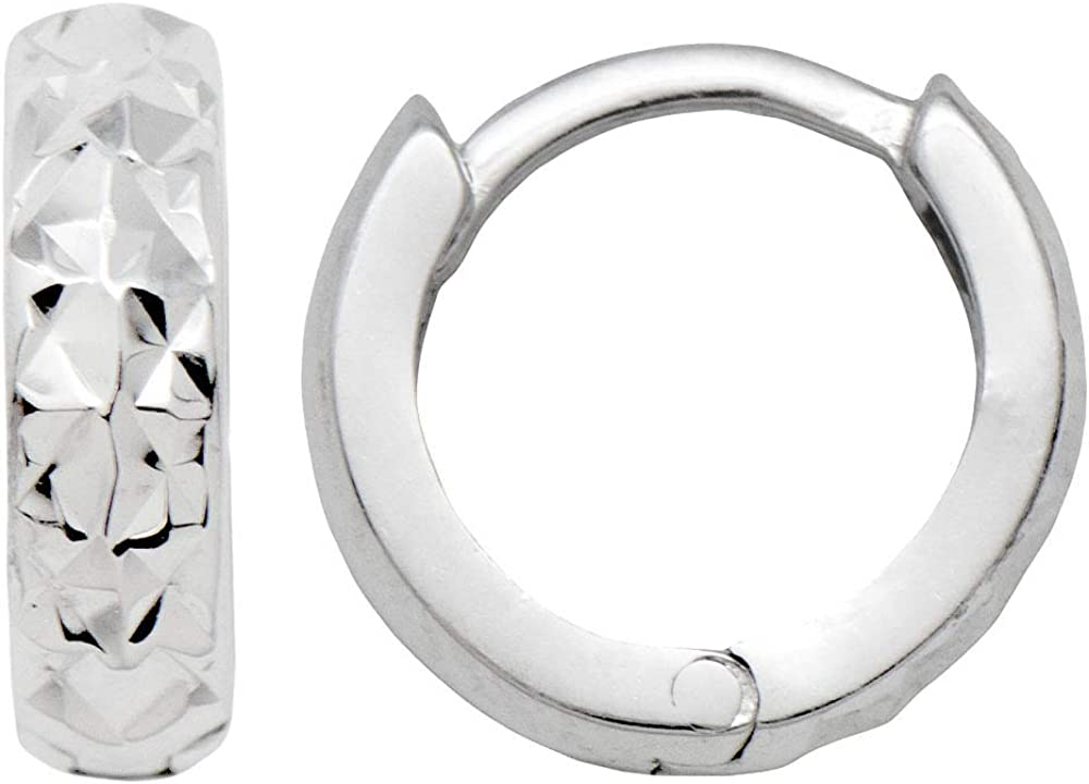 14k Gold Diamond-Cut Reversible Tiny Huggie Hoop Earrings (3mm Thick), 10.8mm