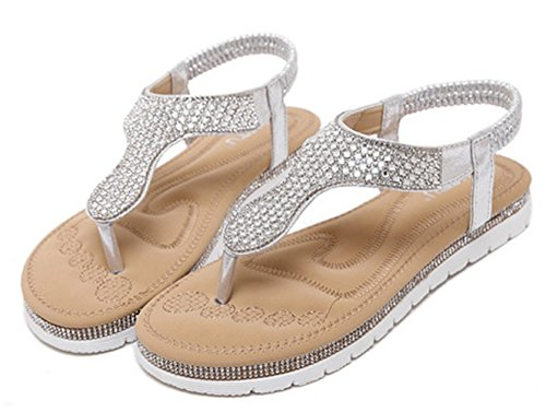 9 Silver 5 Flat Thong Sandal Chickle US Women's Tw8qnX