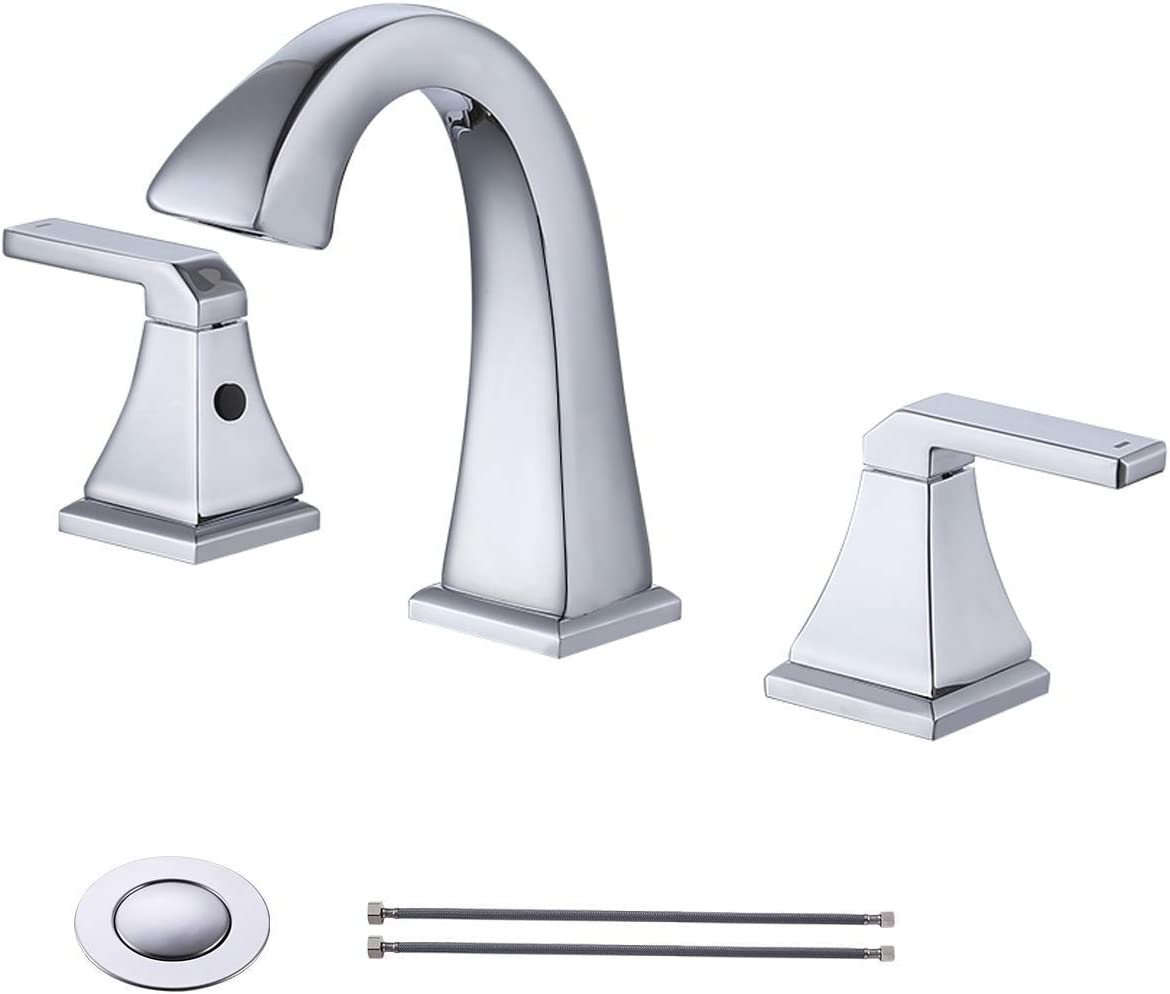 KES 8 Inch WidespreadBathroom Sink Faucet 2-Handle 3 Hole LavatoryBasin Vanity Brass Faucet Lead Free with Supply Lines and Drain Assembly, Polished Chrome L4315LF-CH