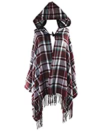 Honeystore Women's Cashmere Poncho Capes Cloak Plaid Scarf Tassel Cardigan Shawl