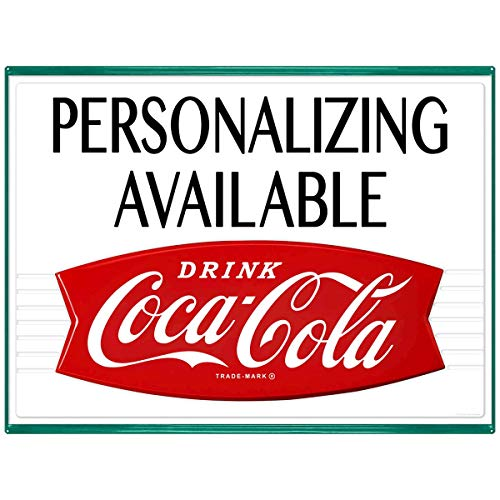 Personalized Coca-Cola Fishtail Metal Sign Vintage Style Reproduction Wall Decor
