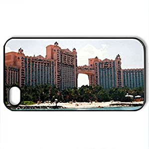 The Atlantis Hotel_Bahamas - Case Cover for iPhone 4 and 4s (Watercolor style, Black)