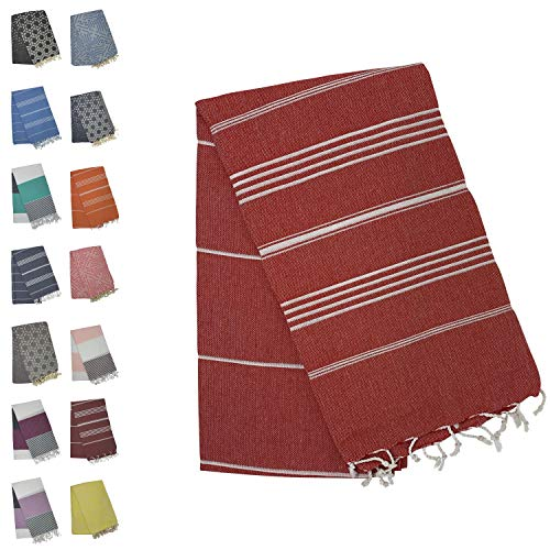 - Holm 100% Turkish Cotton Peshtemal Towels Pestemal Towel Travel Camping Bath Sauna Beach Gym Pool Blanket Fouta Towels Absorbent Easy Care Mint (RED Stripes)