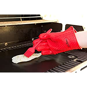 5-Piece Grill Mat Bundle: 2 Non-Stick Black Grill Mats, 2 Silicone Gloves (for Left & Right Hands) & 1 Silicone Basting Brush for Grilling, Cooking or Baking| Fire & Heat Resistant from TJ's Pantry