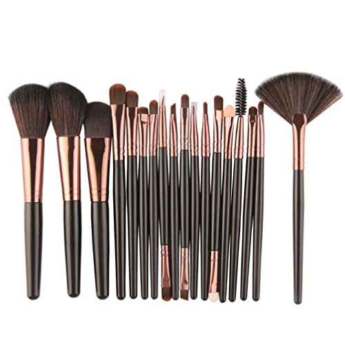 hes Roysberry Soft Makeup Brush Gift Set Professional Makeup Brushes Best 18 PC/Set Colorful Rose Gold Brushes Cute Eye Lip Eyebrow Makeup Brushes Kit (Black) ()