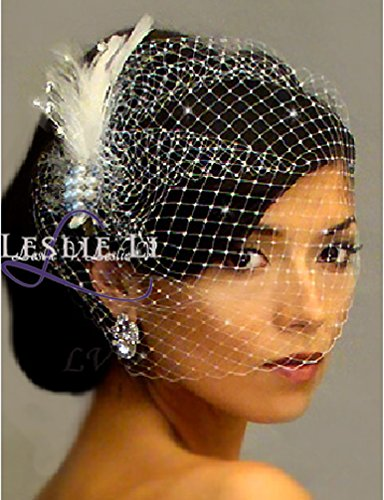 Leslie Li Women's Large Birdcage Bridal Veil & Pearl Feather Hair Clip Ivory (Leslie Cage)
